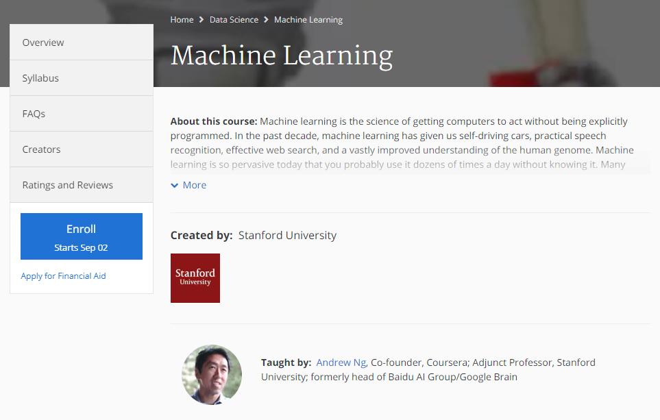หลักสูตรเทพๆ ด้าน Machine Learning ของ Andrew Ng
